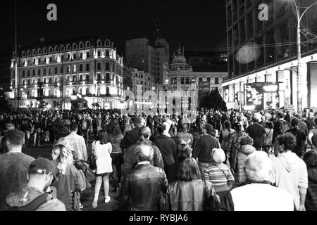 Black and white crowd - Stock Photo