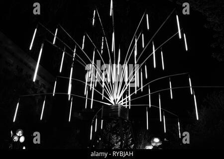 Large black and white light installation - Stock Photo