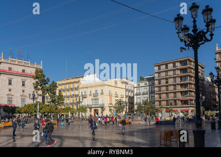 VALENCIA, SPAIN - FEBRUARY 25 : Square of the Virgin Valencia Spain on February 25, 2019. Unidentified people - Stock Photo
