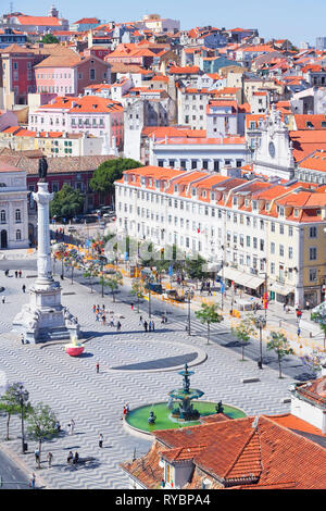 Top view of Praca Dom Pedro IV (Rossio Square) and city centre, Lisbon, Portugal, Europe - Stock Photo
