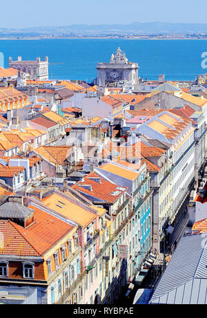 High angle vier of Lisbon historic centre, elevated view, Lisbon, Portugal, Europe - Stock Photo