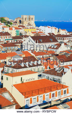High angle view of Lisbon old centre, Lisbon, Portugal, Europe - Stock Photo