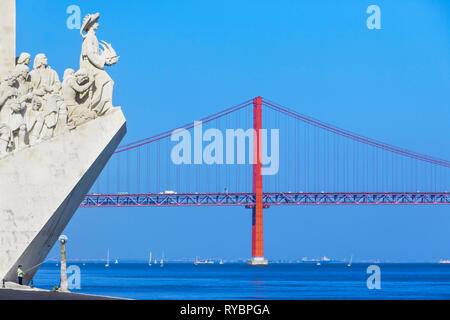 Monument to the Discoveries; Lisbon; Belem; - Stock Photo