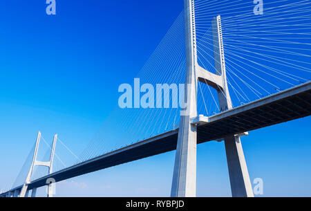 Vasco da Gama bridge over the Tejo river, Europe's longest bridge, Lisbon, Portugal, Europe - Stock Photo