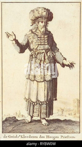 High Priest in liturgical clothing (version A), Jan Luyken, Willem Goeree, 1682 - Stock Photo