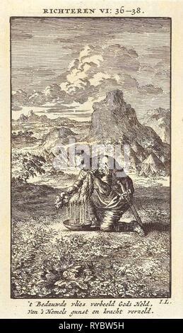 Gideon and the wet sheepskin, print maker: Jan Luyken, wed. Pieter Arentsz & Cornelis van der Sys II, 1712 - Stock Photo