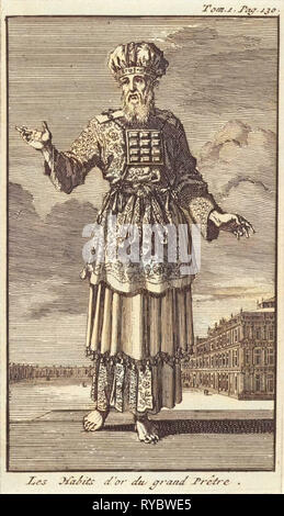 High Priest in liturgical clothing, Jan Luyken, Pieter Mortier, 1705 - Stock Photo