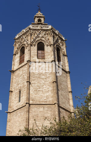 VALENCIA, SPAIN - FEBRUARY 25 : El Micalet Tower of the Cathedral in Valencia Spain on February 25, 2019 - Stock Photo
