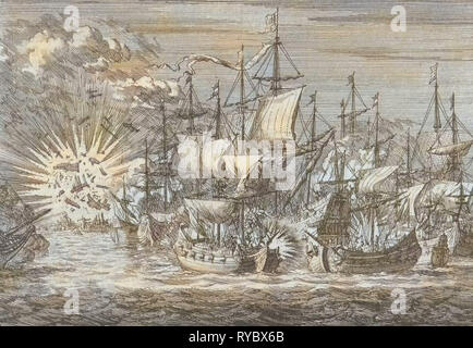 Five Zeeland privateers fight against eight Portuguese warships off the coast of Brazil, in 1657, Jan Luyken, Pieter van der Aa