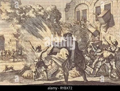 Tollbooth in Lyon is plundered as a result of increased excise duties, 1625, Caspar Luyken, Pieter van der Aa (I), 1698 - Stock Photo