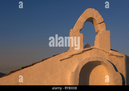Small traditional white Orthodox Chapel, at Chora Skyros island, in Sporades complex, central Greece, Aegean sea , Mediterranean, Europe - Stock Photo