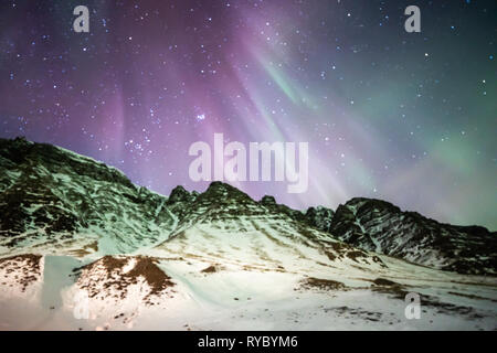 Mountain Aurora Iceland - Stock Photo