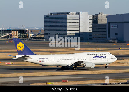 A Boeing 747-830 (Jumbo Jet) operated by German carrier, Lufthansa at Haneda International Airport, Tokyo, Japan. Friday February 1st 2019 - Stock Photo