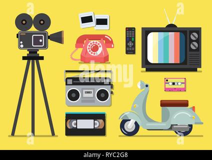 Retro objects flat style on a yellow background - Stock Photo