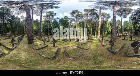 VILNIUS, LITHUANIA - AUGUST, 2018: Full seamless 360 angle degree view panorama in graves of cemetery Polish soldiers died for independence in First W - Stock Photo