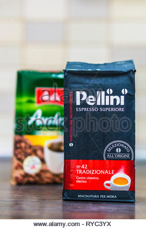 Poznan, Poland - March 9, 2019: Italian Pellini espresso grounded coffee standing on a wooden table. - Stock Photo