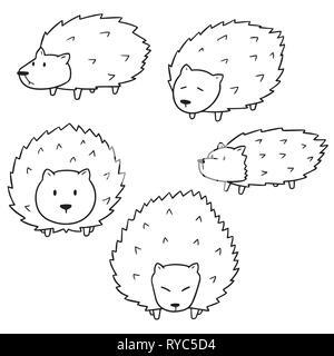 vector set of porcupine - Stock Photo