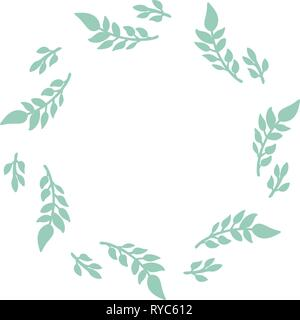 Hand drawn vector round frame. Floral wreath with leaves, and branches Decorative elements for design. Ink, vintage and rustic styles. - Stock Photo