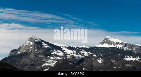 panorama mountain landscape in the Rhine Valley of Switzerland near Sargans in late winter - Stock Photo