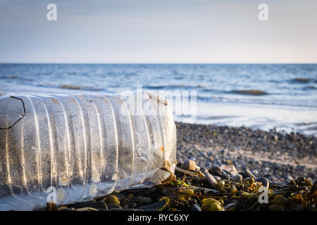 A washed-up plastic bottle and seaweed on a shingle beach with the ocean in the background and a low sun shining - Stock Photo