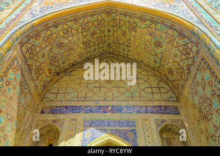 Samarkand Registon Square Ensemble Sherdor Madrasa Iwan Viewpoint - Stock Photo