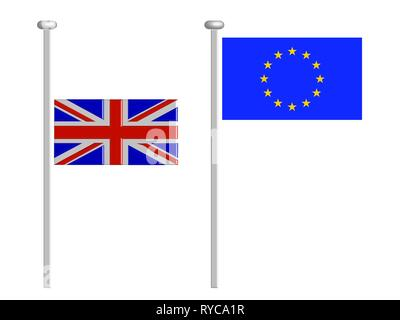 British flag flying at half-staff and eu flag at top - Brexit concept - UK and England economy after Brexit - isolated on white - Stock Photo
