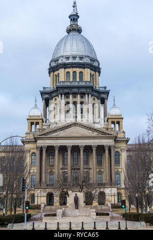 Morning light on the state capitol building in Springfield, Illinois. - Stock Photo