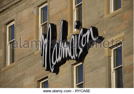 Sign of Malmaison Hotel Dundee Scotland  March 2019 - Stock Photo