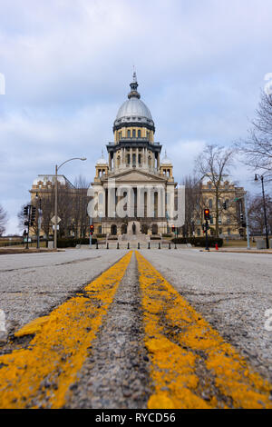 Rough road leading to the Illinois State Capitol Building.  Springfield, Illinois, USA. - Stock Photo