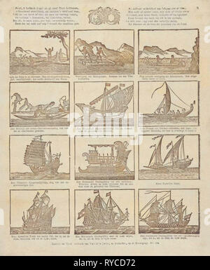 Print showing various old ships, David le Jolle, Anonymous, 1814 - c. 1820 - Stock Photo