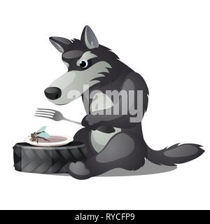 Hungry animated grey wolf with fork and empty plate with fly isolated on white background. Vector cartoon close-up illustration. - Stock Photo
