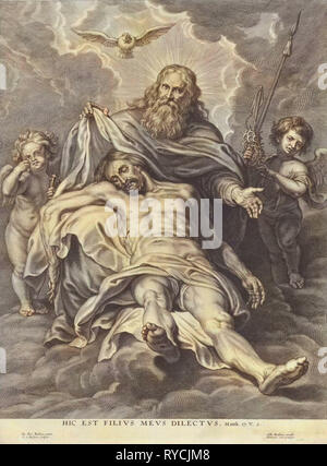 Holy Trinity and angels with instruments of the Passion, Schelte Adamsz. Bolswert, Gillis Hendricx, 1596 - 1659 - Stock Photo
