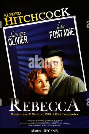 FRENCH MOVIE POSTER, REBECCA, 1940 - Stock Photo