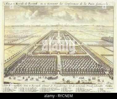 View of the gardens at the House to Nieu Burch in Rijswijk, 1697, Anonymous, Anna Beeck, Staten van Holland en West-Friesland, 1697 - Stock Photo