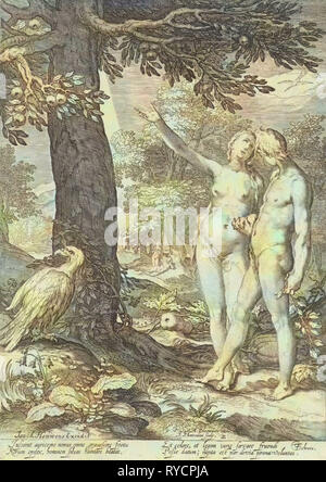 Adam and Eve before the Tree of Knowledge of Good and Evil, print maker: Jan Saenredam, Abraham Bloemaert, Isack Houwens, 1604 and/or 1690 - 1750 - Stock Photo
