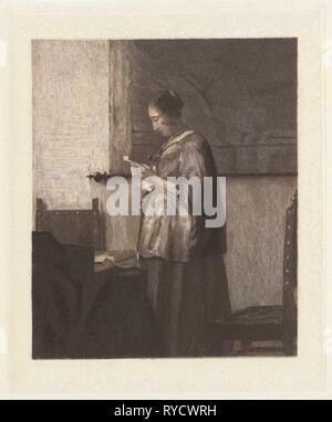 Woman Reading a Letter, Willem Steelink (I), Johannes Vermeer, 1866 - 1928 - Stock Photo