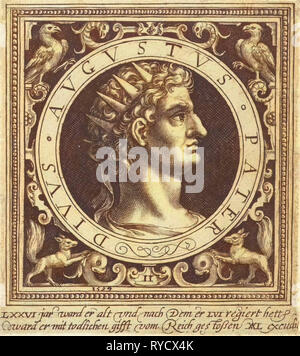 Portrait of Emperor Augustus on medallion, print maker: Nicolaes de Bruyn, Nicolaes de Bruyn, Assuerus van Londerseel, 1594 - Stock Photo