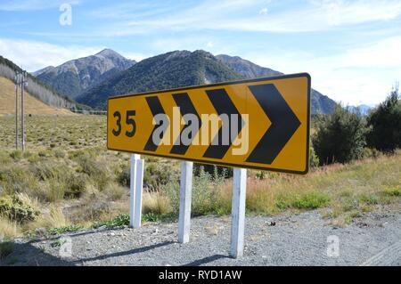 on the road from Greymouth to Queenstown - Alpine crossing in New Zealand - Stock Photo