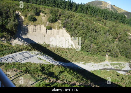 Train bridges in the New Zealand Alps seen from the Tranzalpine - Stock Photo