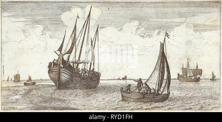 Mooring of the mail boat, print maker: Joost van Geel attributed to, Jacob Quack, 1665 - Stock Photo