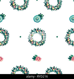 Easter wreath with decorative eggs, green leaves flowers seamless pattern. Children's festive nature of the holiday - Stock Photo