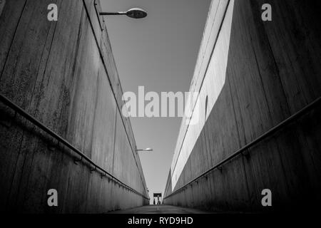 London black and white urban photography: Waterloo bridge pedestrian underpass - Stock Photo