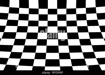 Warped perspective coloured checker board effect grid illustration black and white - Stock Photo