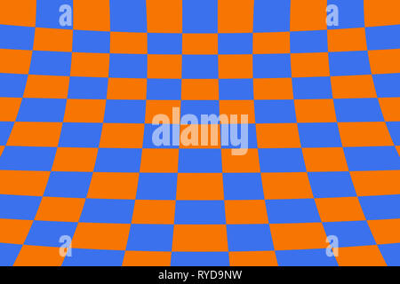 Warped perspective coloured checker board effect grid illustration orange and blue - Stock Photo