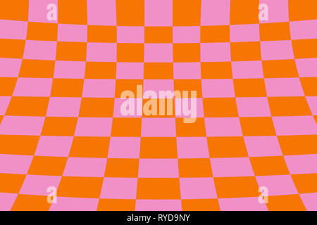 Warped perspective coloured checker board effect grid illustration orange and pink - Stock Photo