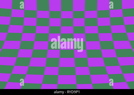 Warped perspective coloured checker board effect grid illustration purple and green - Stock Photo