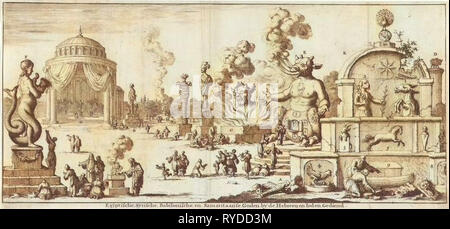 Egyptian, Syrian, Babylonian and Samaritan gods worshiped by the Hebrews and Jews, Jan Luyken, Willem Goeree, 1682 - Stock Photo