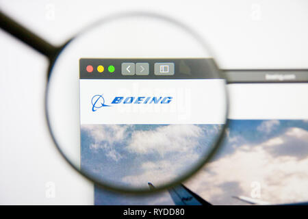 Los Angeles, California, USA - 14 February 2019: Boeing aerospace website homepage. Boeing logo visible on screen. - Stock Photo