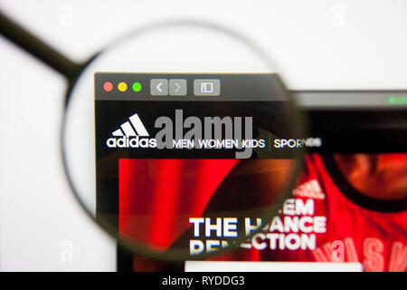 Los Angeles, California, USA - 14 February 2019: Adidas website homepage. Adidas logo visible on screen. - Stock Photo