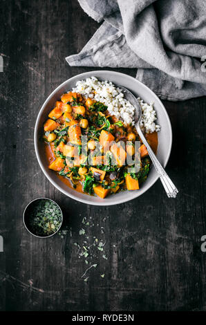 Sweet Potato, Chickpea, and Kale Curry - Stock Photo